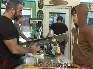 Horny crowd fuck stud in skate shop | fucking  gangbang  horny  shop  stud